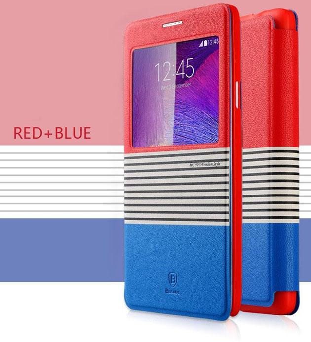 เคส Note 4 ฝาพับ Eden 141050 สีแดง-น้ำเงิน