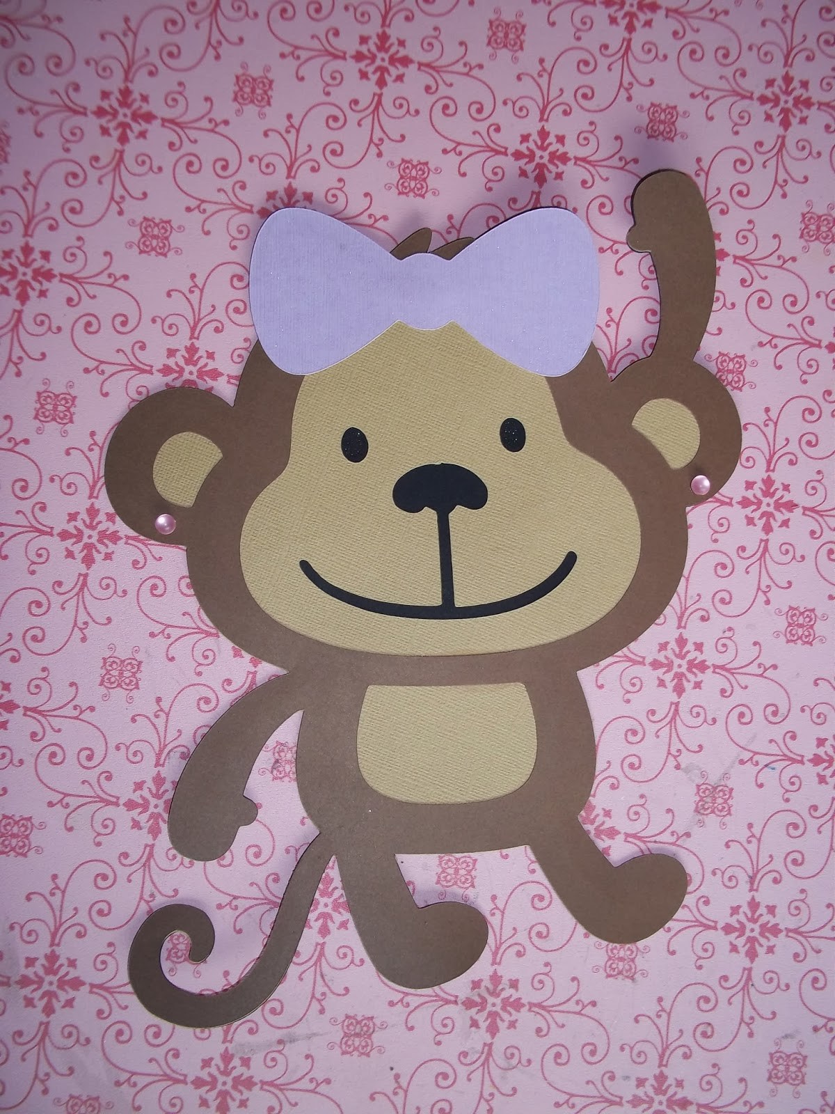 Crafty creations by niki baby shower monkey holding balloons decoration - Monkey balloons for baby shower ...