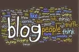 The word Blog surrounded by word cloud