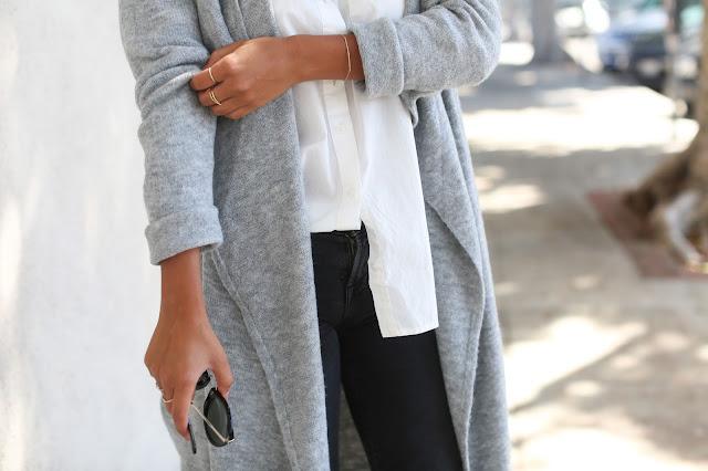 bb dakota long cardigan, how to wear long cardigan, j brand distressed denim