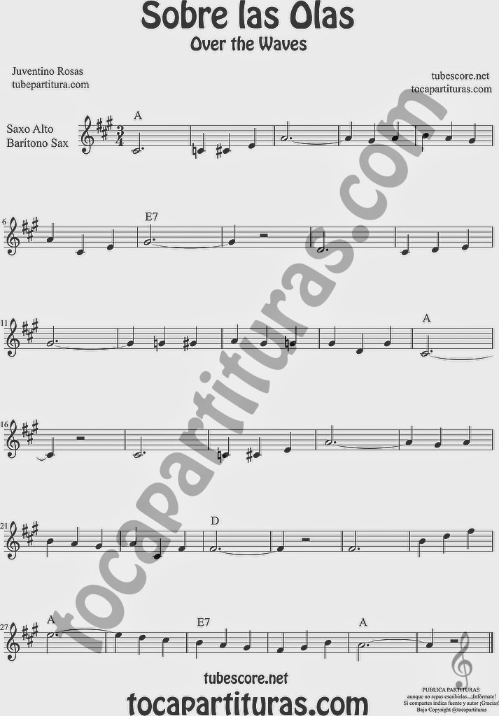 Sobre las Olas Partitura de Saxofón Alto y Sax Barítono Sheet Music for Alto and Baritone Saxophone Music Scores  Juventino Rosas Over the Waves
