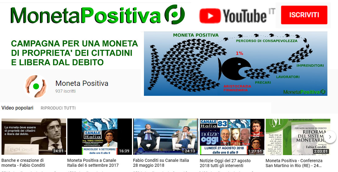 Canale YouTube MONETA POSITIVA
