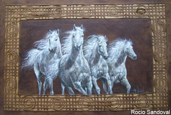 Painting of white horses by Rocio Sandoval