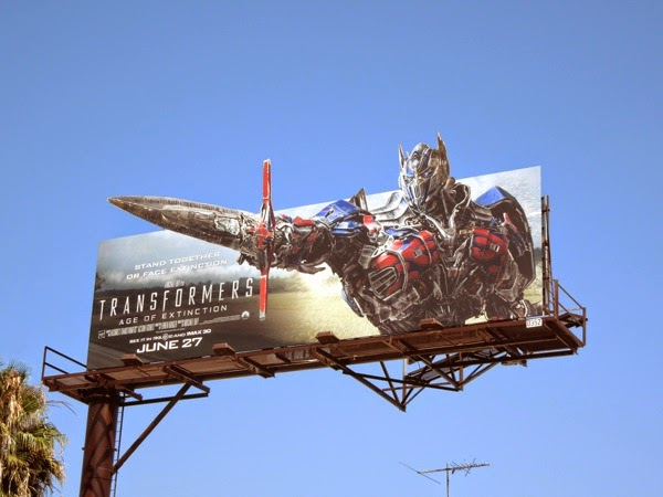 Transformers Age of Extinction Optimus Prime extension billboard