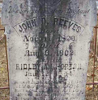 Gravestone of John D. Reeves, Jr. in Stewart County, Georgia
