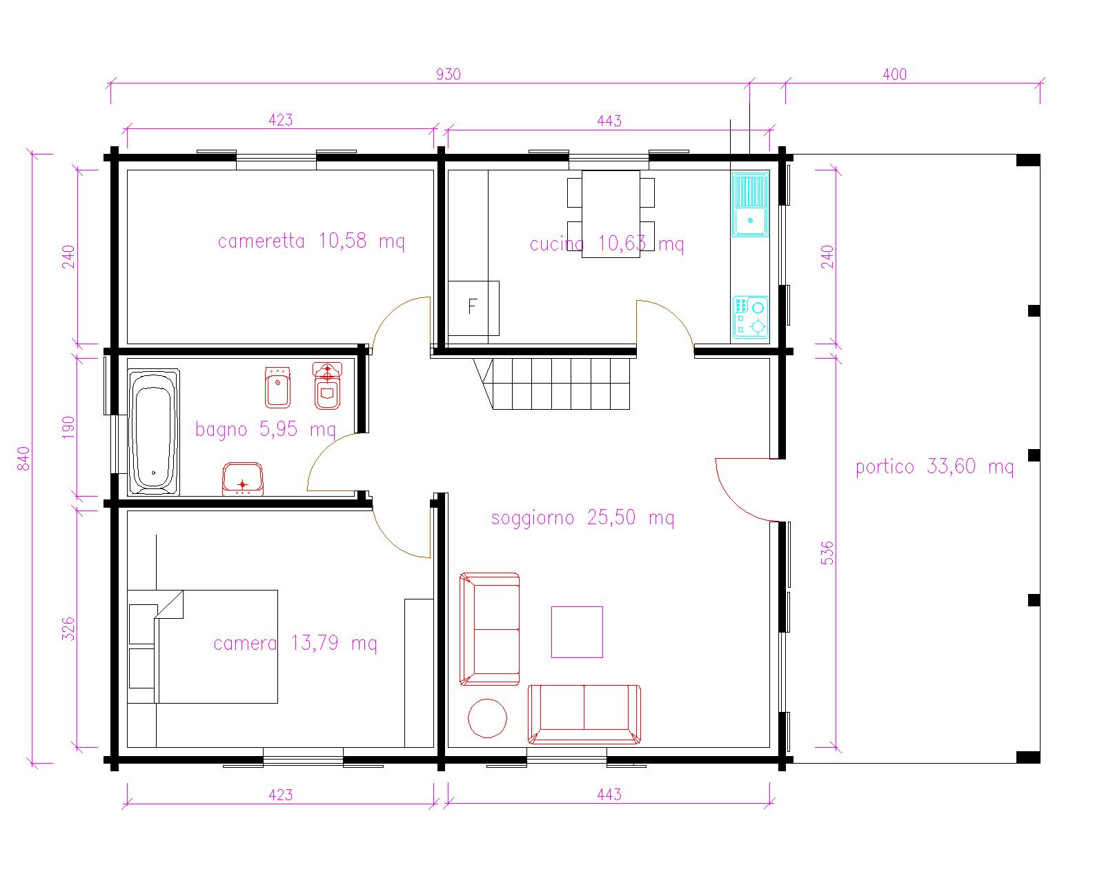 Progetti di case in legno casa 116 mq portico 33 mq for Progetti di casa sollevati