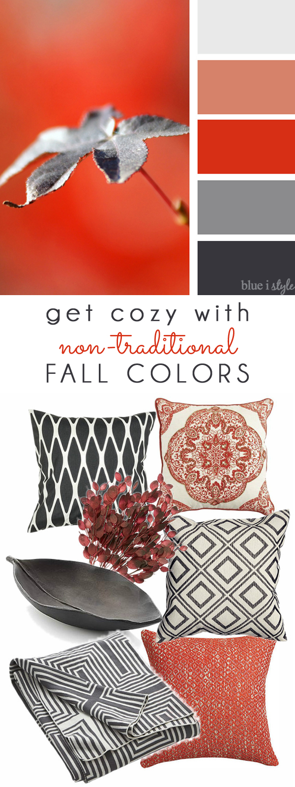 Red & Gray Fall Color Mood Board