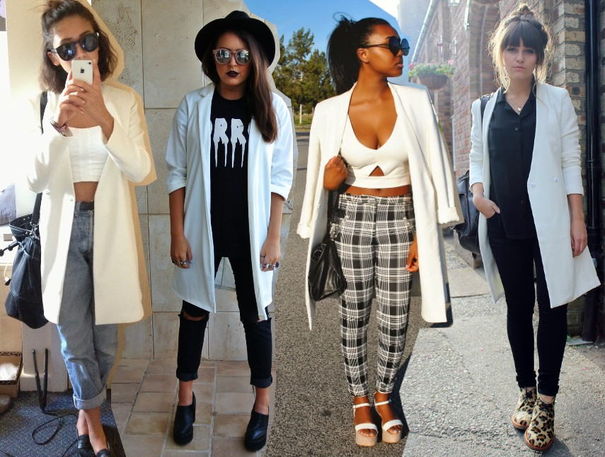 top fashion bloggers wearing white jacket outfit