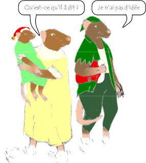 """What did he say?"" asks the mother rat, in French. ""I have no idea,"" replies the rat with suspenders, also in French."