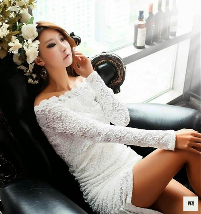 Japon Style Dantel Elbise Beyaz