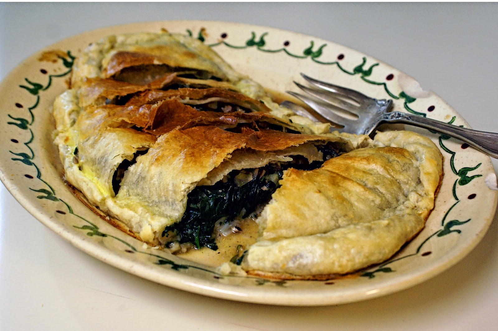 Fish Stuffed with Spinach and Pecans in Puff Pastry