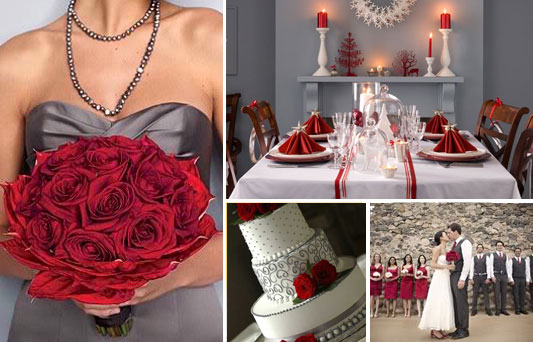 Colour Palette Crimson Red And Dark Grey Perfect For A Christmas Wedding