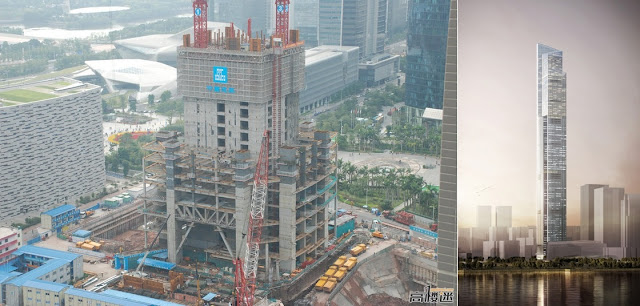 Photo of a Chow Tai Fook Skyscraper Construction Site as seen from the upper floors of the nearby building