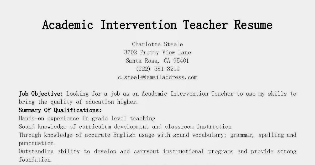 Resume Samples: Academic Intervention Teacher Resume Sample