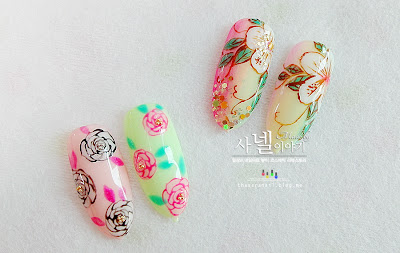 Floral Nail art, feminine nail tip design