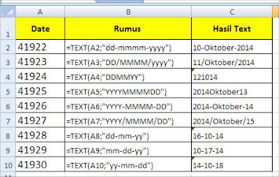 Cara merubah format tanggal ( date) ke Text dalam Ms. Excel.