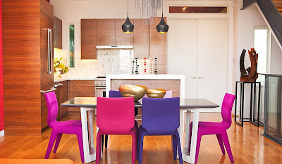 fresh and youthful dining chairs surrounded by wood materials in minimalist style