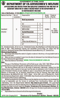 Department of Ex-servicemen's Welfare Chennai Recruitments (www.tngovernmentjobs.in)