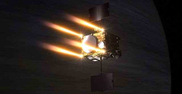 Artist's rendering of the Akatsuki spacecraft entering Venus orbit. Image Credit: Go Miyazaki