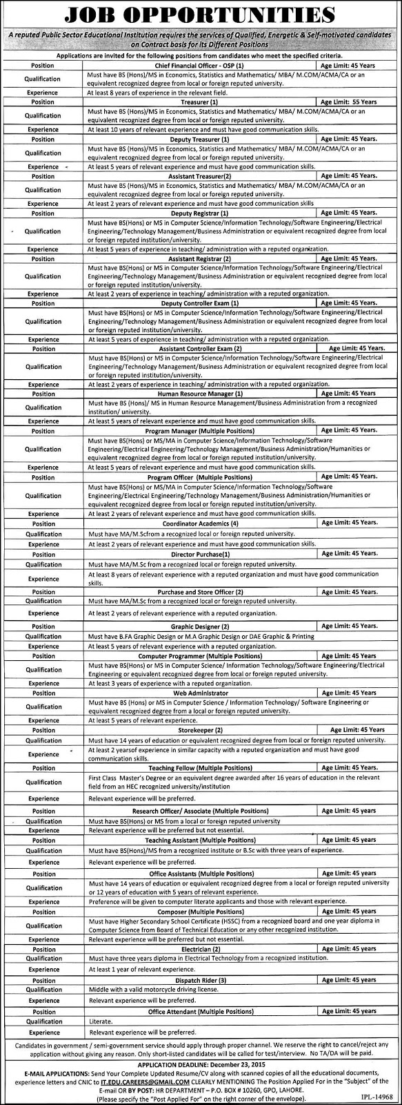 Jobs in Public Sector Educational Institution