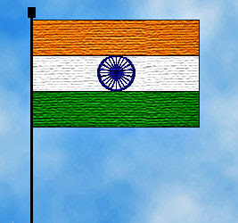 Indian flag on cloudy background