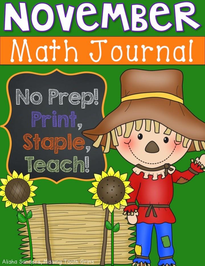 http://www.teacherspayteachers.com/Product/November-Math-Journal-1494533