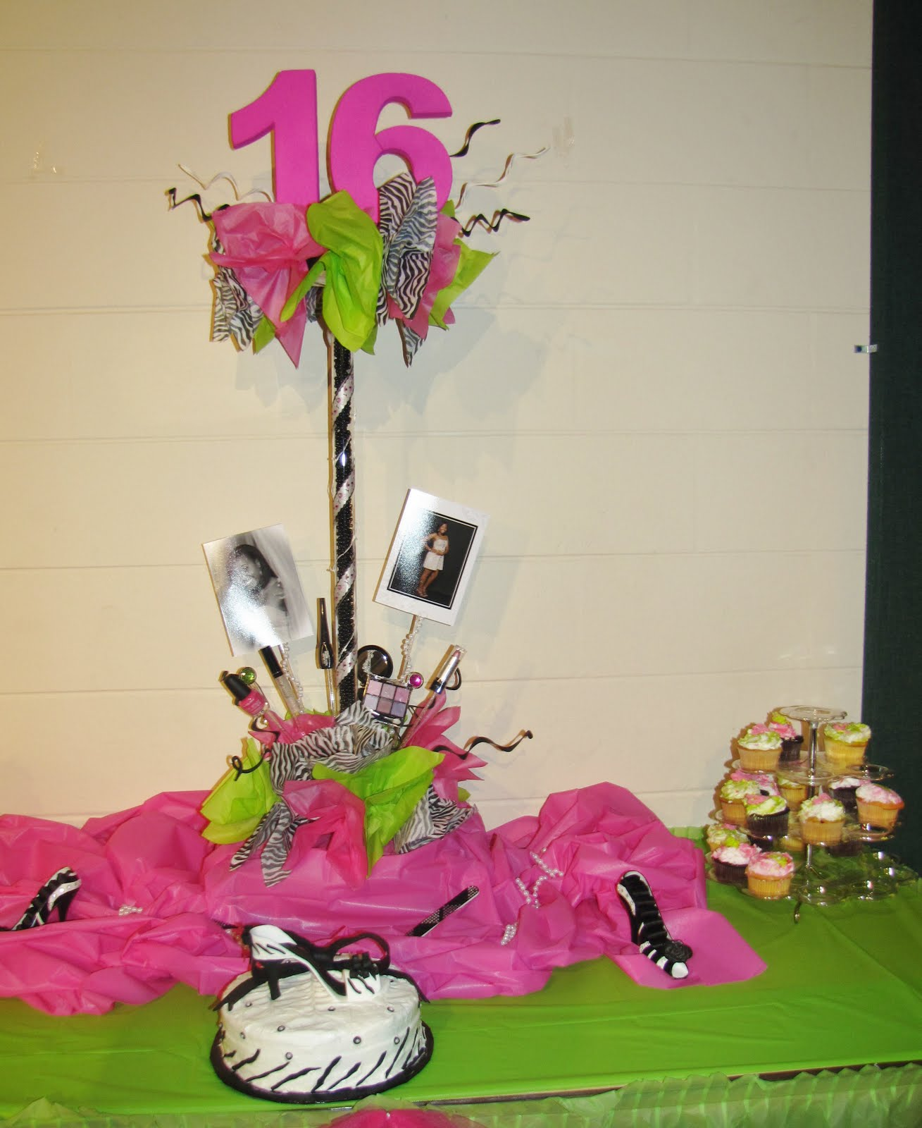 Sweet 16 Table Decoration Ideas great ideas for sweet sixteen decorations including home made decoration instructions and much more Zebra Hot Pink And Lime Sweet 16 Fort Meade Community Center Custom Glamour Sweet 16 Centerpiece
