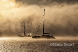 Two yachts in rolling dawn mist