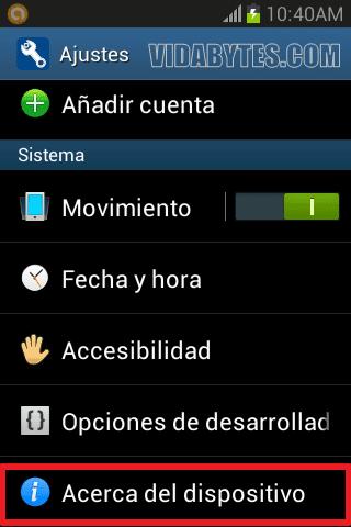 Acerca del dispositivo Android