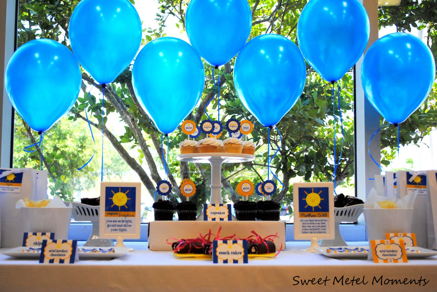 Party hat candy buffet for boys for Graduation decorations