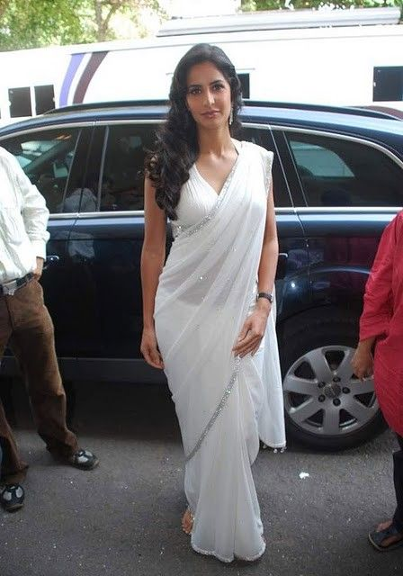 Bollywood Actress Katrina Kaif White Saree Stills Photogallery sexy stills