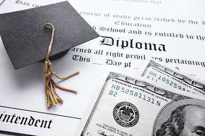 image of diploma, graduation cap and money