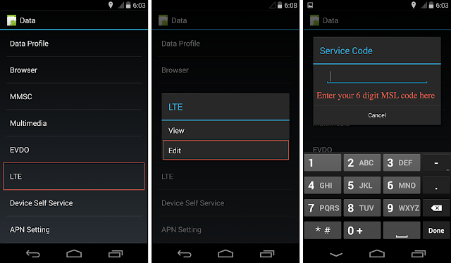 Nexus 5 Ting LTE Settings