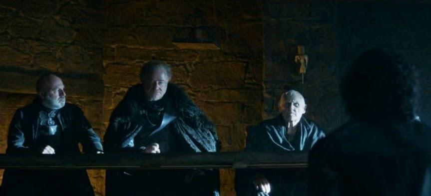 Jon nieve frente al tribunal de la guardia de la noche - Juego de Tronos en los siete reinos