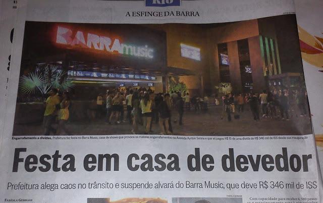 trânsito Barra Music devedor