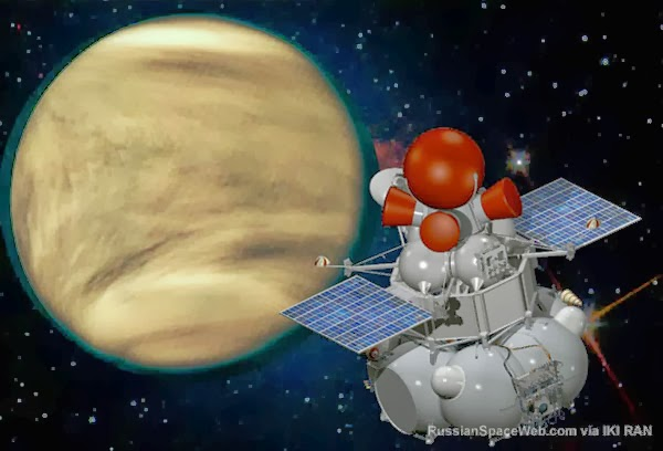 The Venera-D spacecraft approaching clouds-veiled Venus. Shown configuration was only one of several designs envisioned at the conclusion of the project's definition phase in September 2009. Credit: russianspaceweb.com
