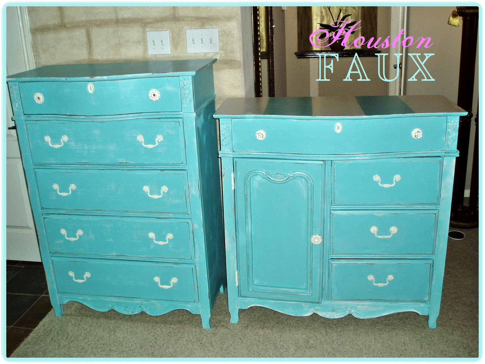 faux painting furniture beachy blue makeover for and old pair