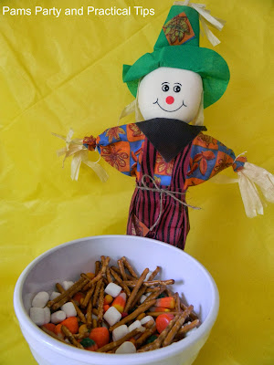 A fun mix of treats that is great to serve at a scarecrow party