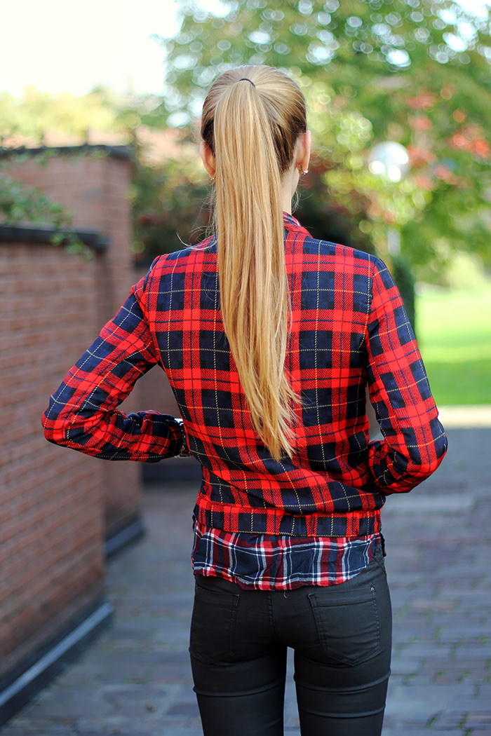 tartan bomber jacket, black waxed jeans, fall outfit, fashion