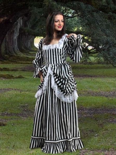 Black and White Striped Lace Medieval Steampunk Dress