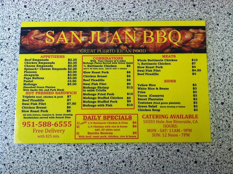 San Juan BBQ Menu