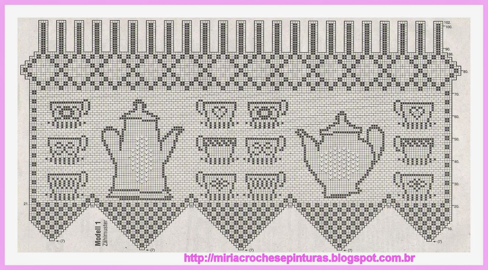 Схема вязания штор крючком для кухни