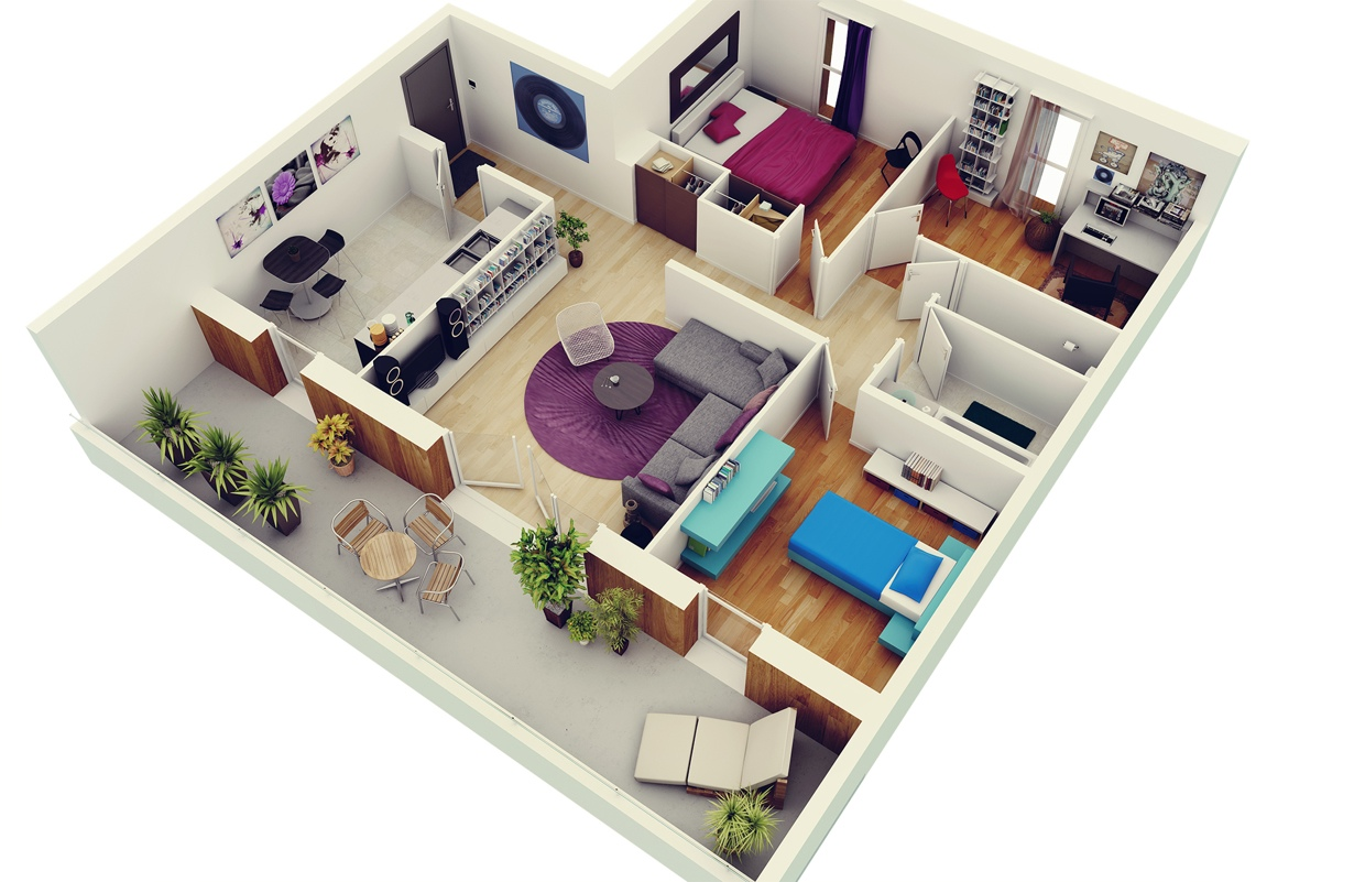Free 3 bedrooms house design and lay out - Design of three room apartment ...