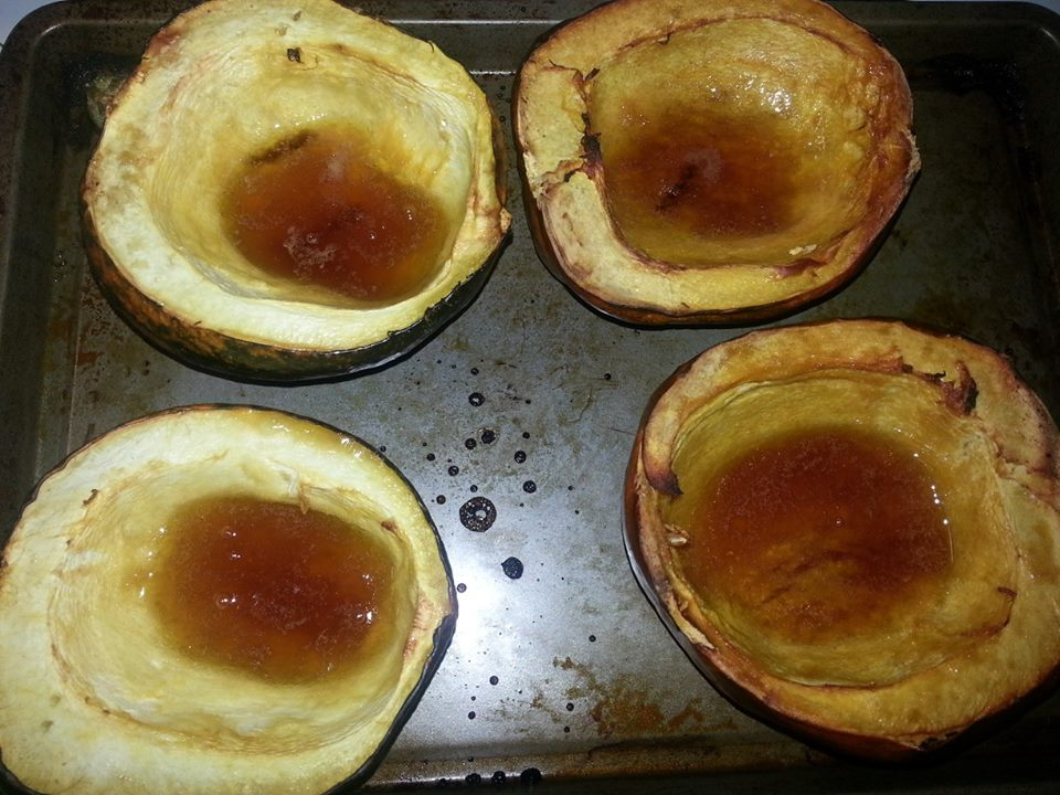 Shannon's Lightening the Load: Roasted Acorn Squash with Brown Sugar