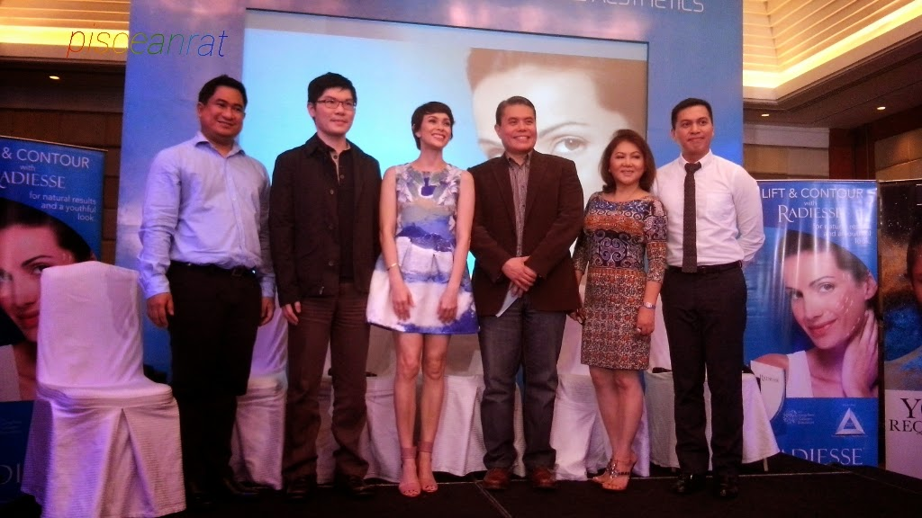 Dr. Ron Elepaño, Dr. Yao Yuan Chang, the host Ms. Angel Jacob, Dr. Jose Joven Cruz, Dr. Teresita Ferrariz, and Dr. Edwin Sunga, Regional Medical Director of Merz Aesthetics.