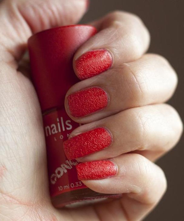 Unhas de concreto - Concrete Effect - Nails Inc - nail art - cor vermelho Marle Arch
