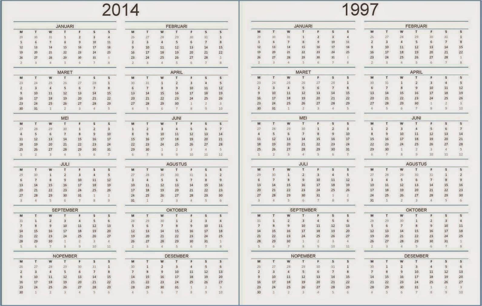 1592 x 1011 jpeg 217kB, Kalender 2014 Dan Kalender 1997, Sama?