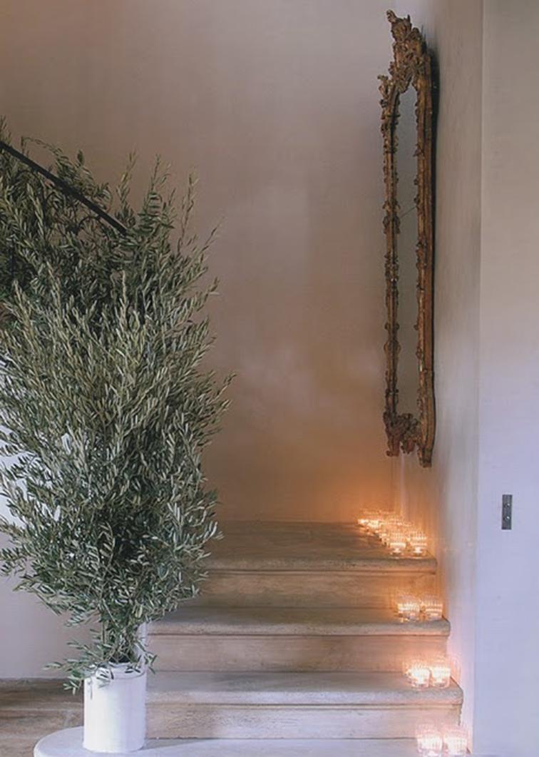 Christmas stairway, pine tree, festive home decor