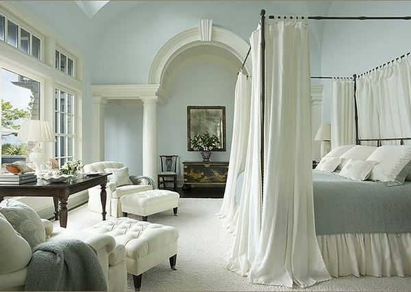 Traditional bedroom with navy blue paint - Interiors Etc Details Calm Cool And Tranquil