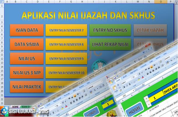Aplikasi Nilai Ijazah dan SKHUS SD dengan Microsoft Excel Download Gratis